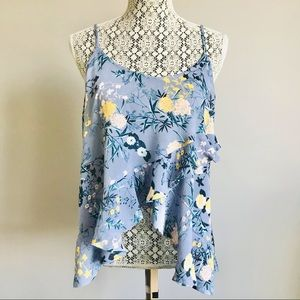 Chelsea28 floral ruffle tank top M